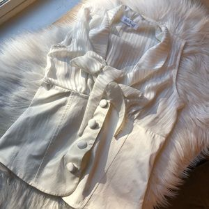 Vintage chunky button sheer bow blouse small